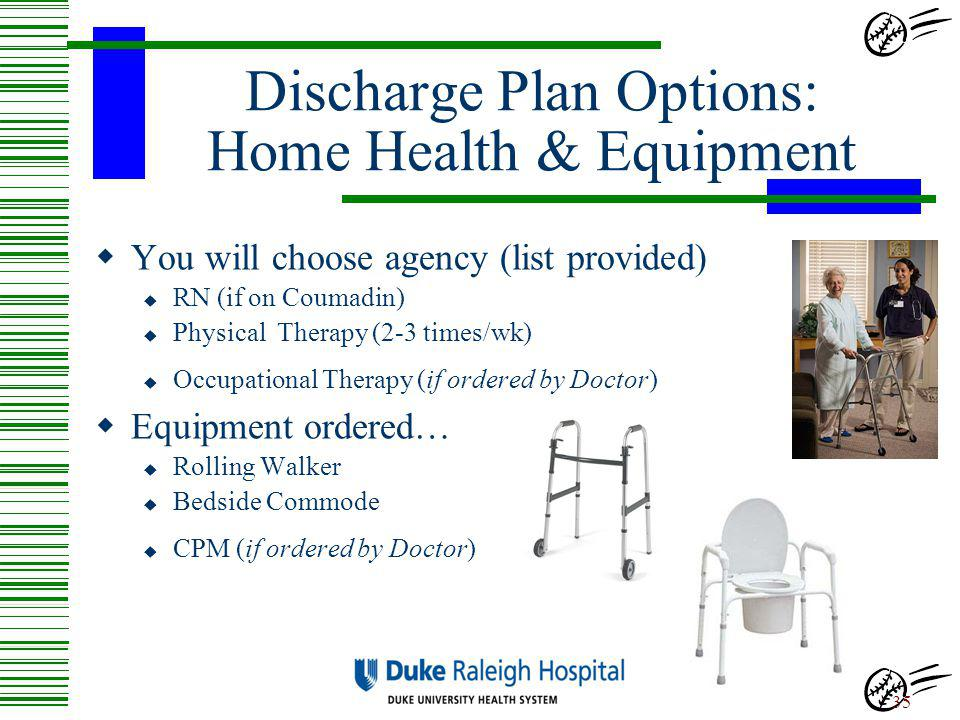 Discharge Plan Options: Home Health & Equipment