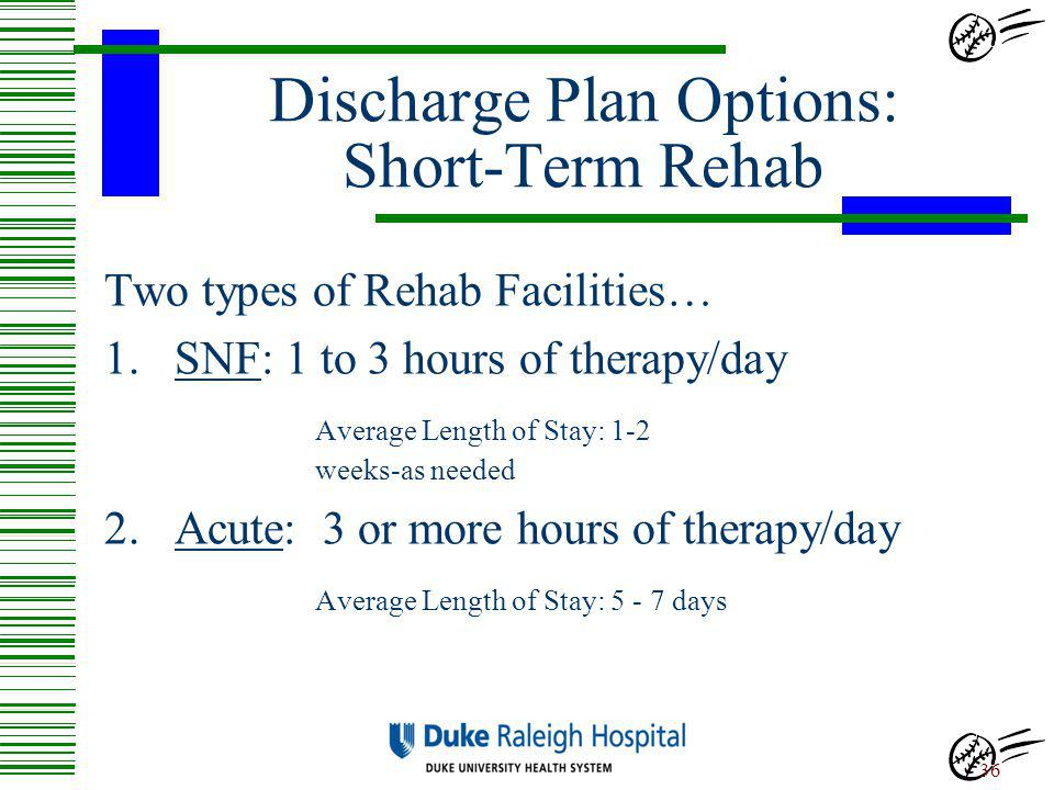Discharge Plan Options: Short-Term Rehab