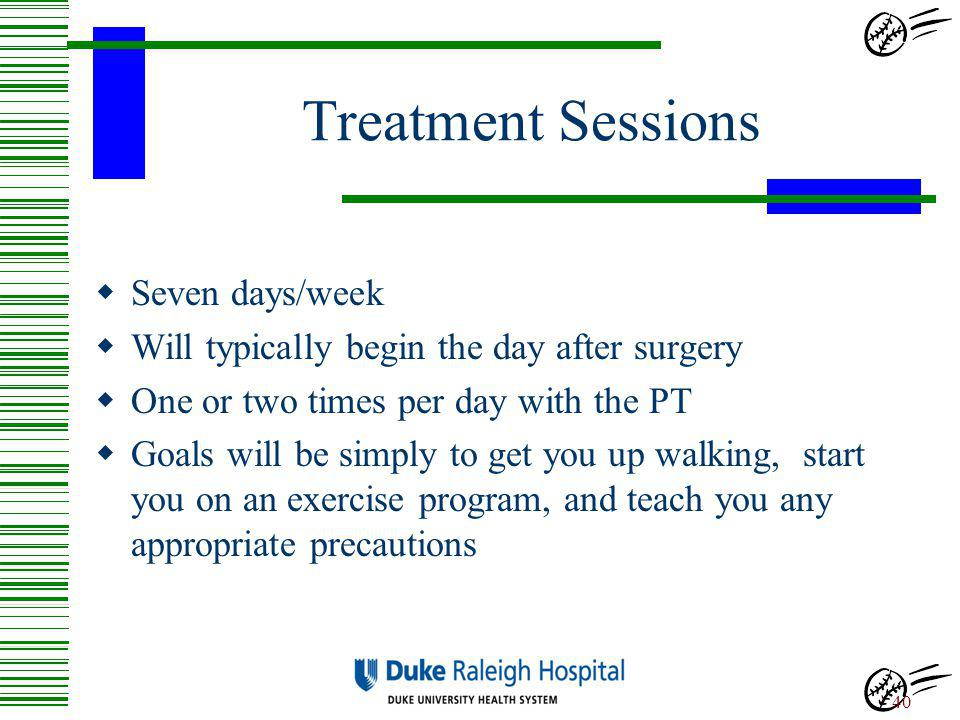 Treatment Sessions Seven days/week