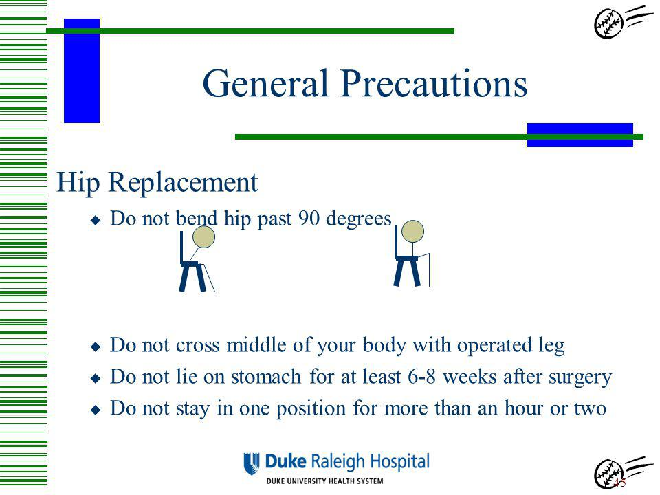 General Precautions Hip Replacement Do not bend hip past 90 degrees