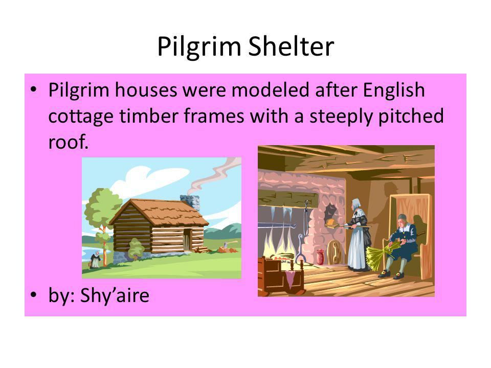 Pilgrim Shelter Pilgrim houses were modeled after English cottage timber frames with a steeply pitched roof.
