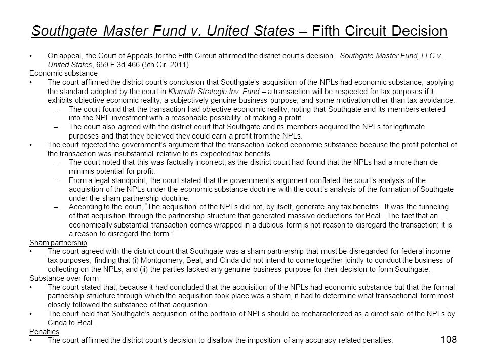 Southgate Master Fund v. United States – Fifth Circuit Decision