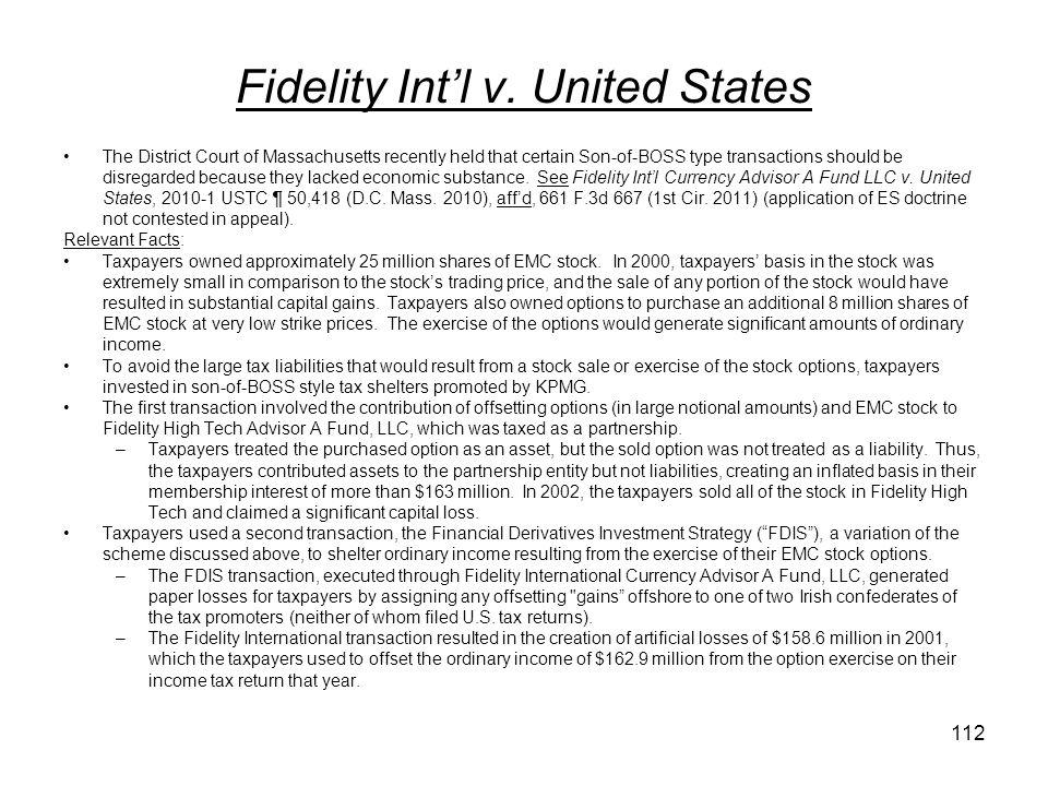Fidelity Int'l v. United States