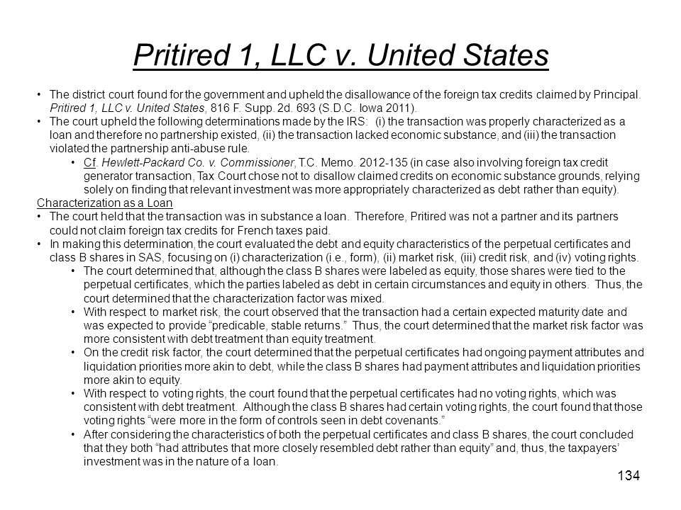 Pritired 1, LLC v. United States
