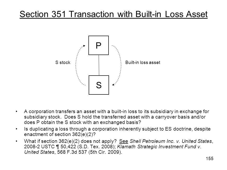 Section 351 Transaction with Built-in Loss Asset