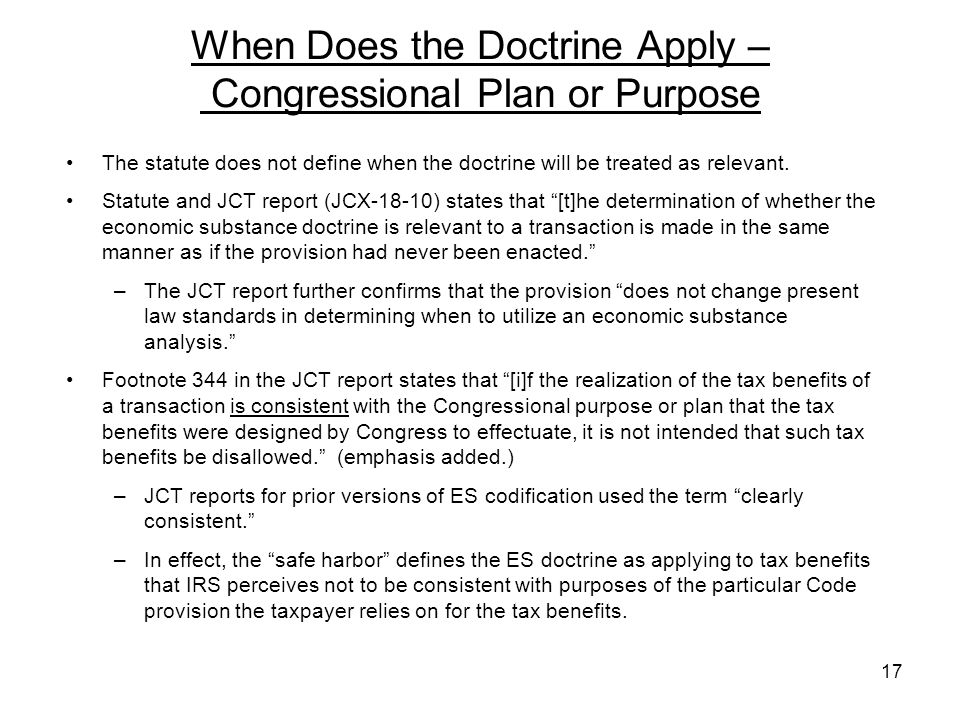 When Does the Doctrine Apply – Congressional Plan or Purpose