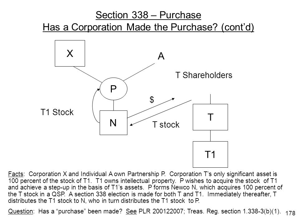 Section 338 – Purchase Has a Corporation Made the Purchase (cont'd)