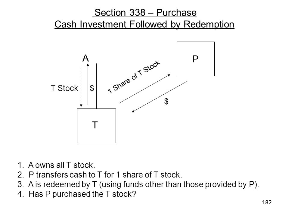 Section 338 – Purchase Cash Investment Followed by Redemption