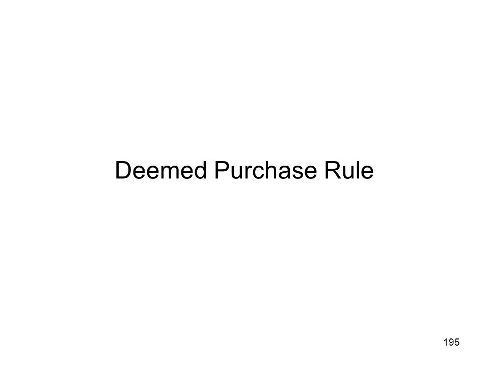 Deemed Purchase Rule