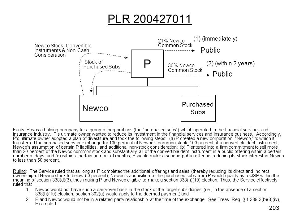 PLR 200427011 P Newco Public Public Purchased Subs (1) (immediately)