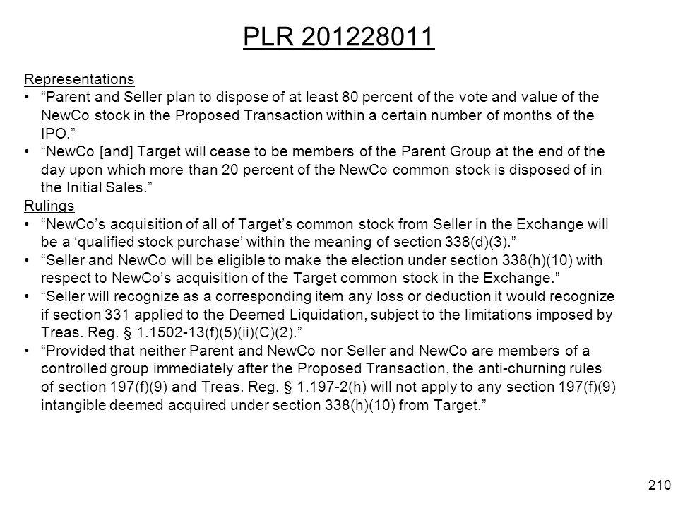 PLR 201228011 Representations.