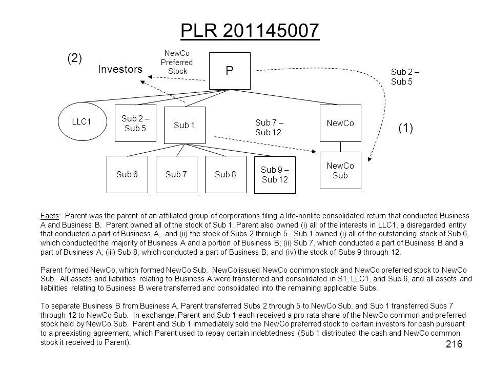 PLR 201145007 (2) P (1) Investors Sub 2 – Sub 5 LLC1 Sub 2 – Sub 5