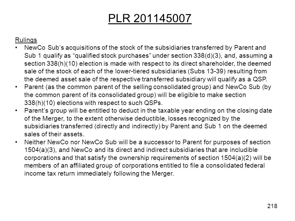 PLR 201145007 Rulings.