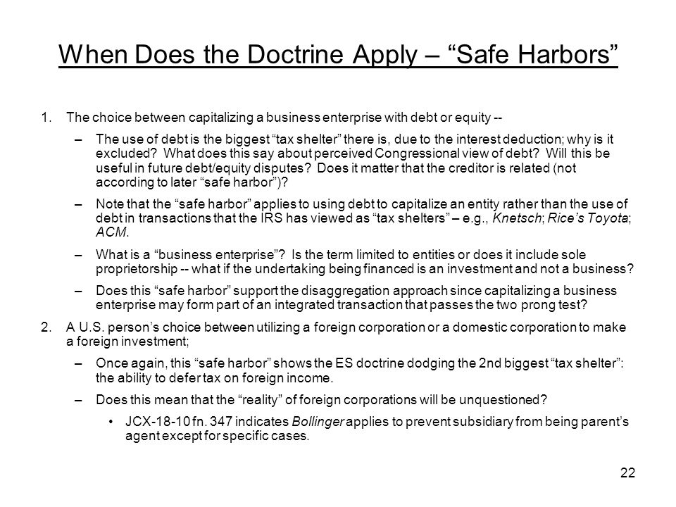 When Does the Doctrine Apply – Safe Harbors