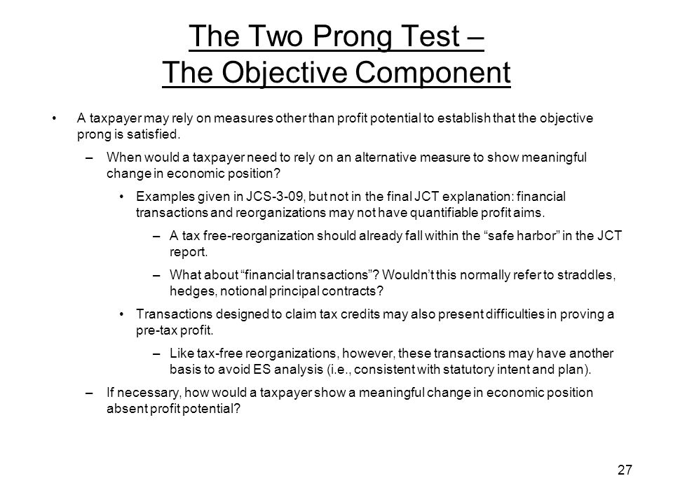 The Two Prong Test – The Objective Component