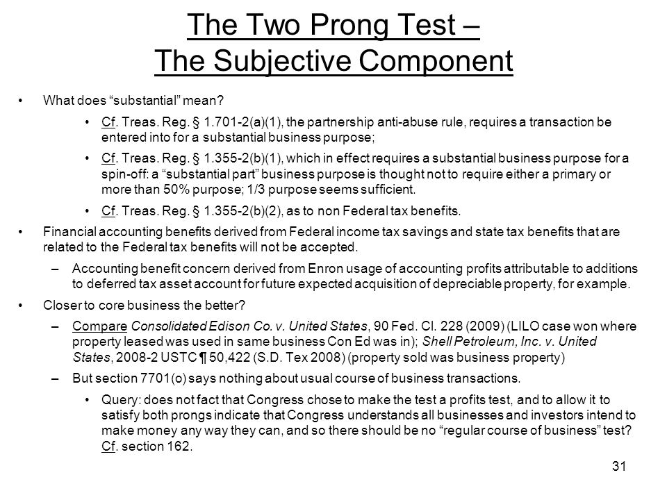 The Two Prong Test – The Subjective Component
