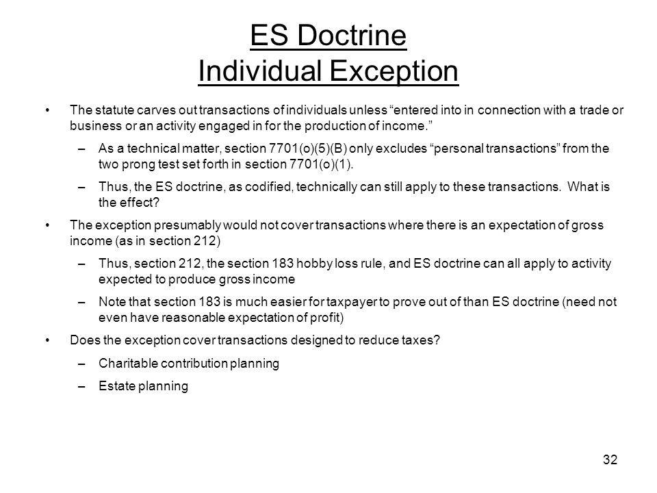 ES Doctrine Individual Exception