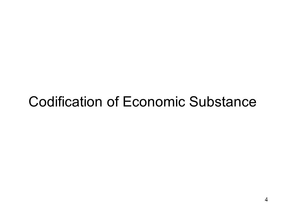 Codification of Economic Substance