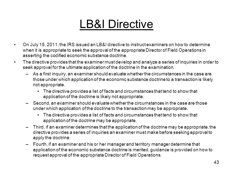 LB&I Directive