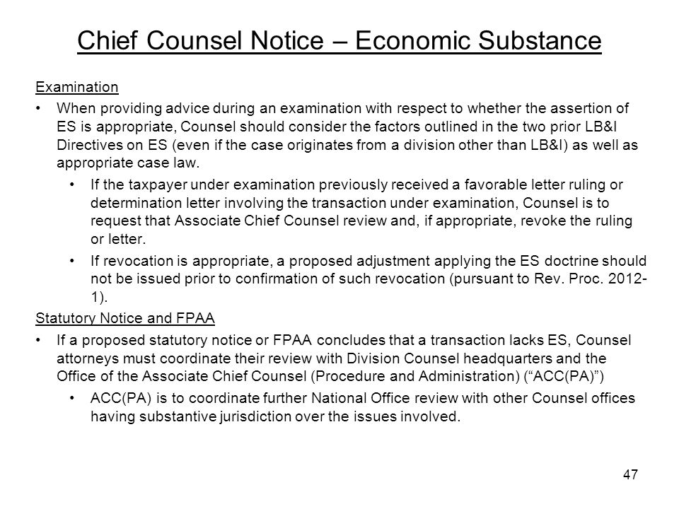 Chief Counsel Notice – Economic Substance