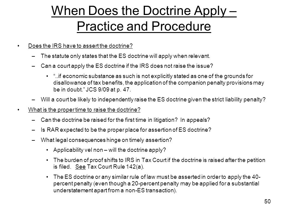 When Does the Doctrine Apply – Practice and Procedure