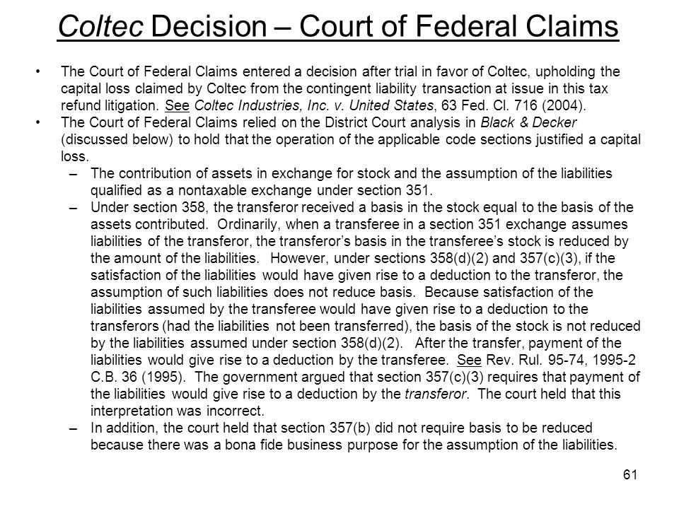 Coltec Decision – Court of Federal Claims