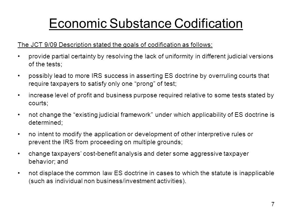 Economic Substance Codification