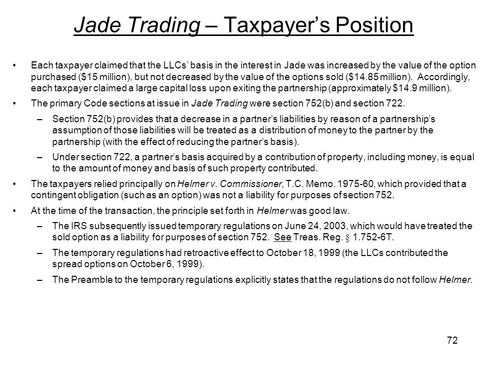 Jade Trading – Taxpayer's Position