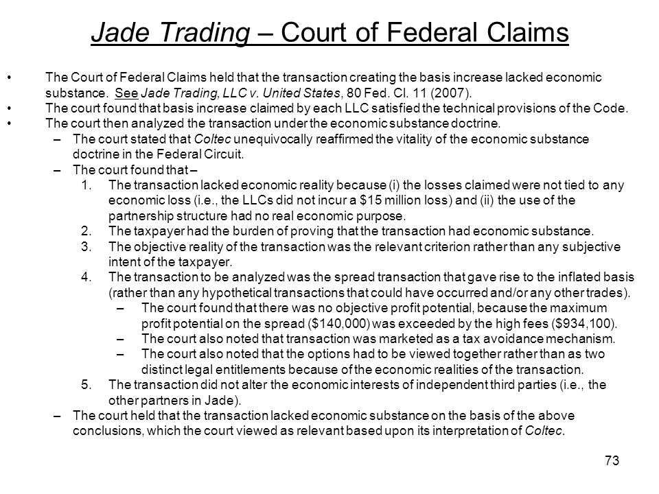Jade Trading – Court of Federal Claims