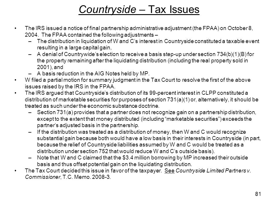 Countryside – Tax Issues