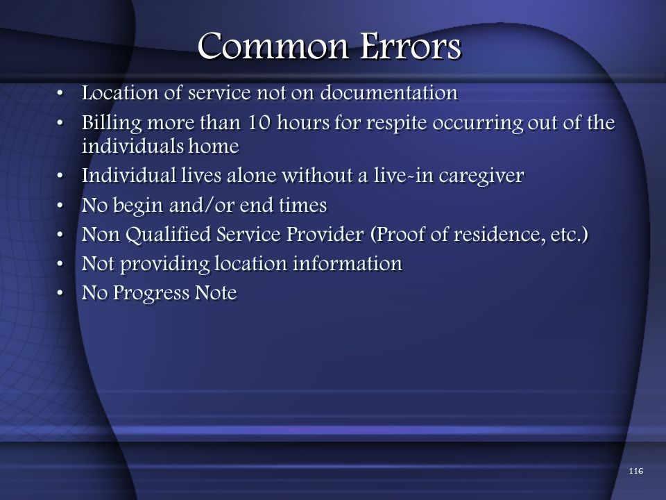 Common Errors Location of service not on documentation