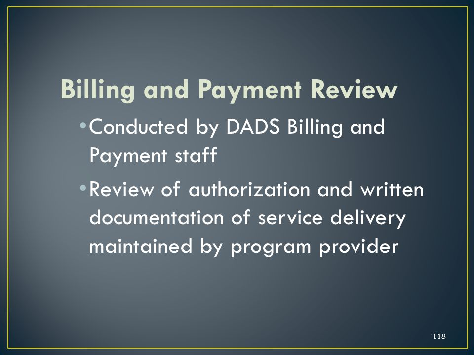 Billing and Payment Review
