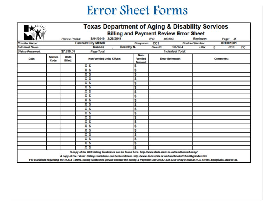 Error Sheet Forms 01/24/2012