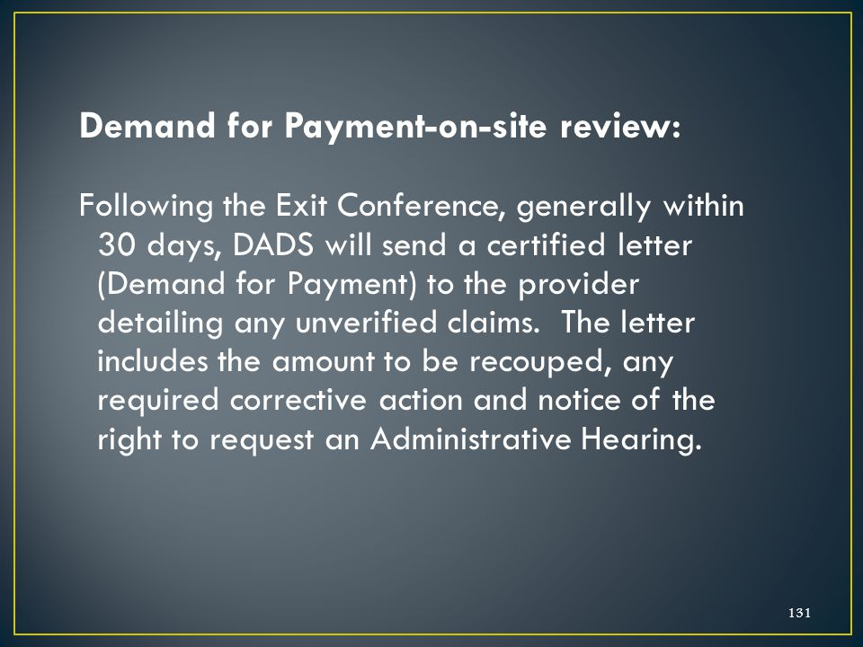 Demand for Payment-on-site review: