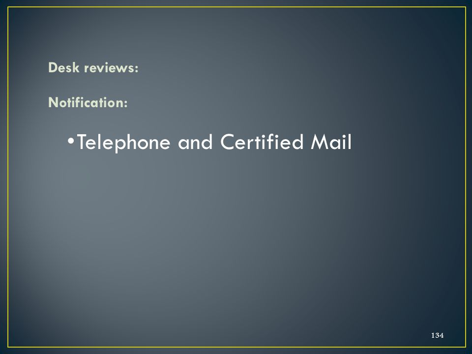 Telephone and Certified Mail