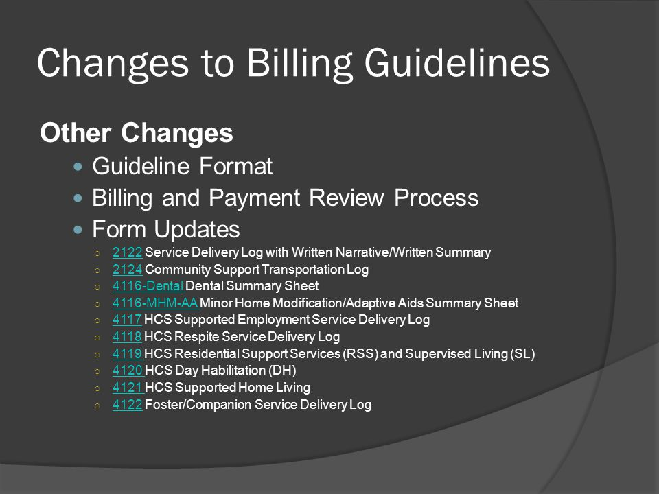 Changes to Billing Guidelines