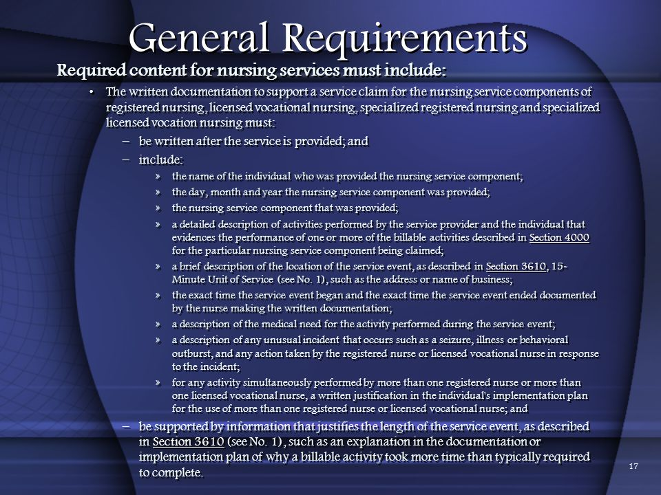 01/24/2012 General Requirements. Required content for nursing services must include: