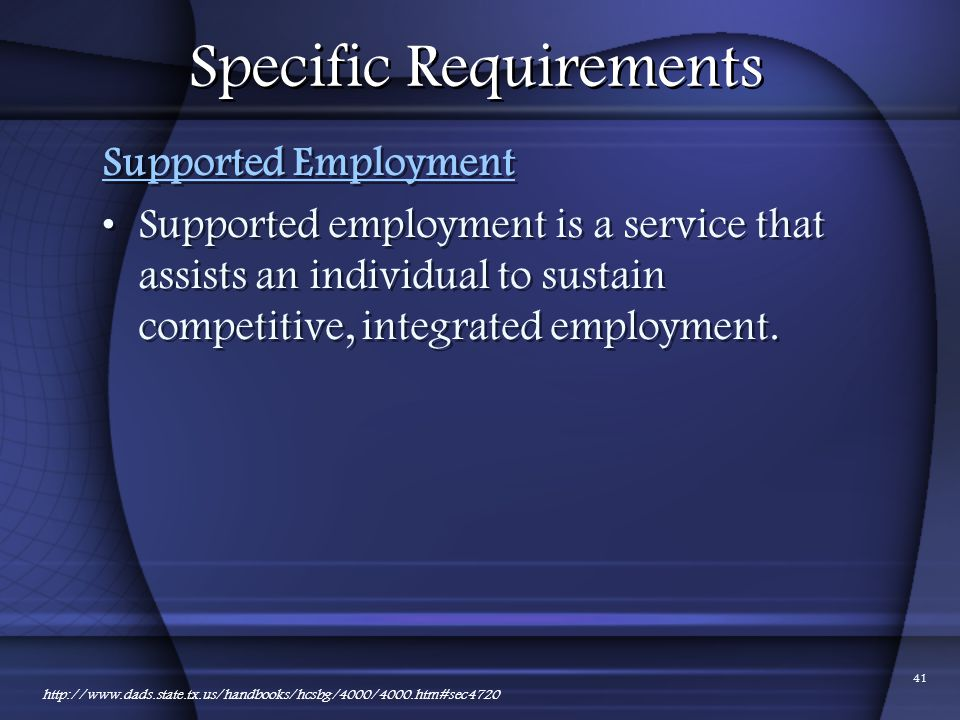 Specific Requirements
