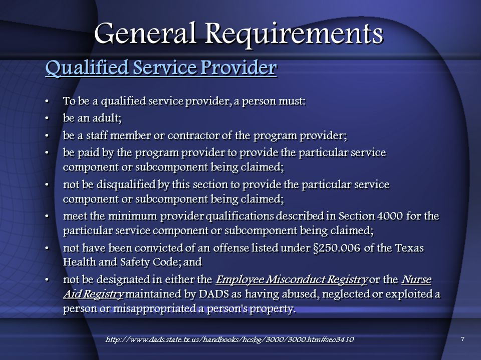 General Requirements Qualified Service Provider