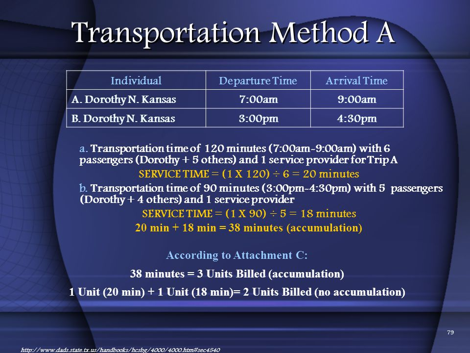 Transportation Method A