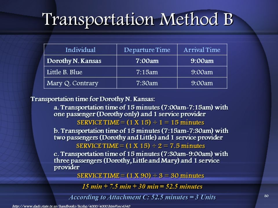 Transportation Method B