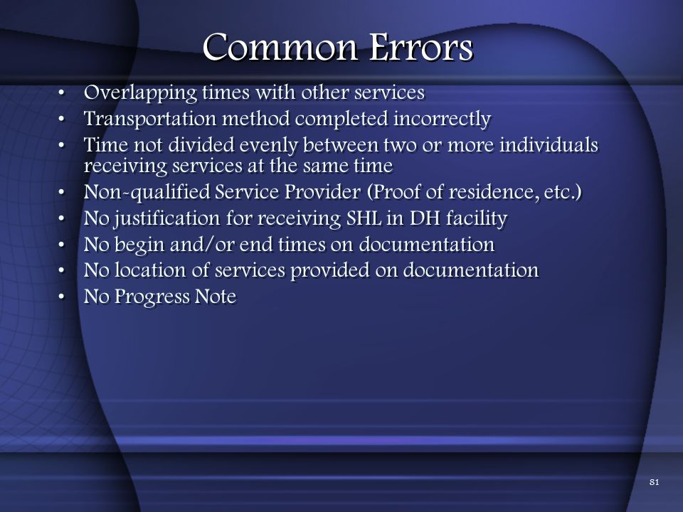 Common Errors Overlapping times with other services