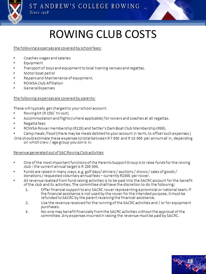 ROWING CLUB COSTS The following expenses are covered by school fees:
