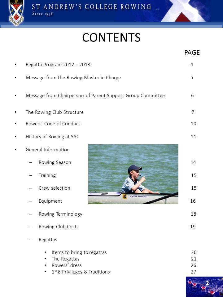 CONTENTS PAGE Regatta Program 2012 – 2013 4