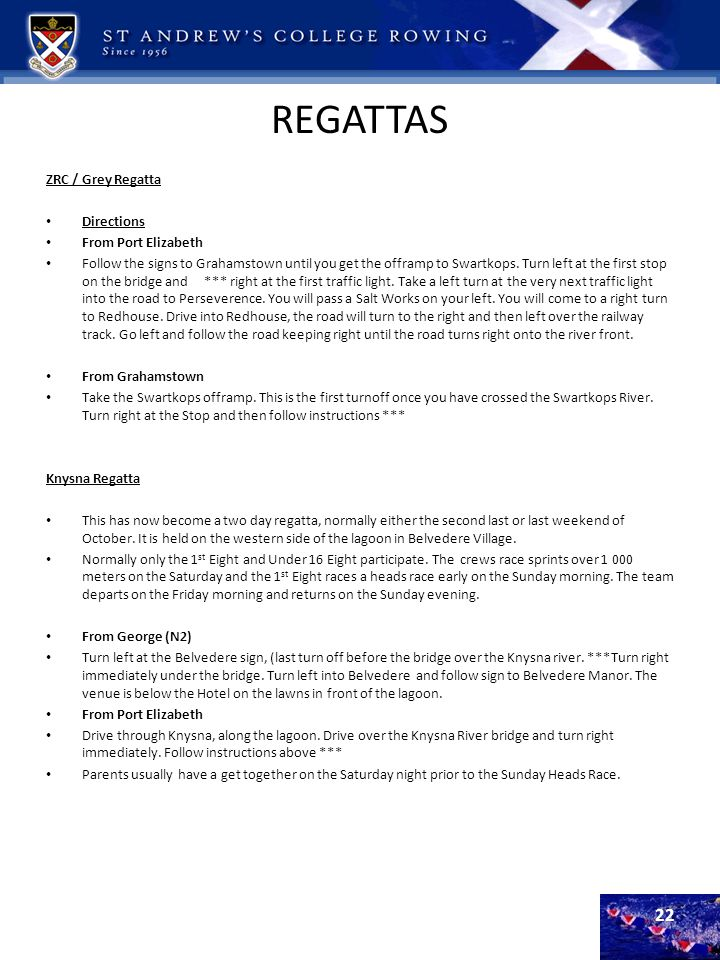 REGATTAS ZRC / Grey Regatta Directions From Port Elizabeth
