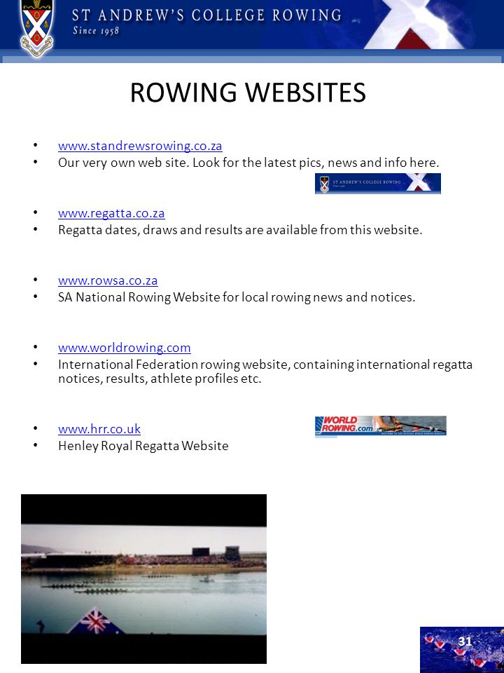 ROWING WEBSITES www.standrewsrowing.co.za