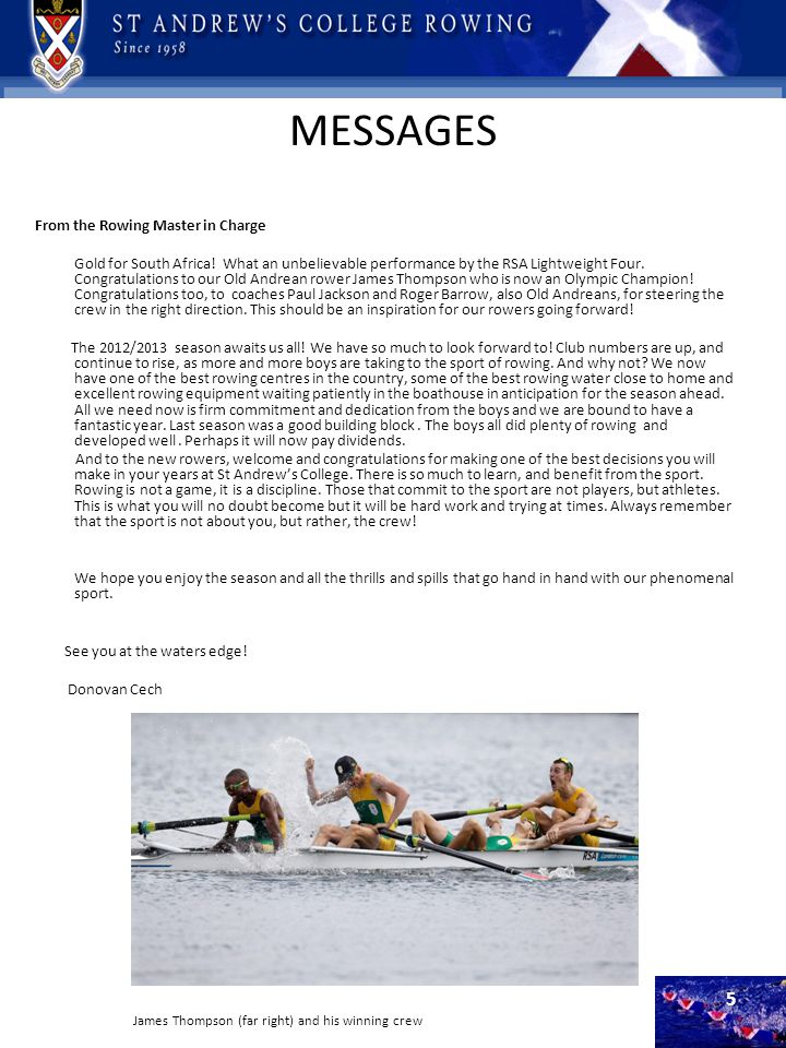 MESSAGES From the Rowing Master in Charge