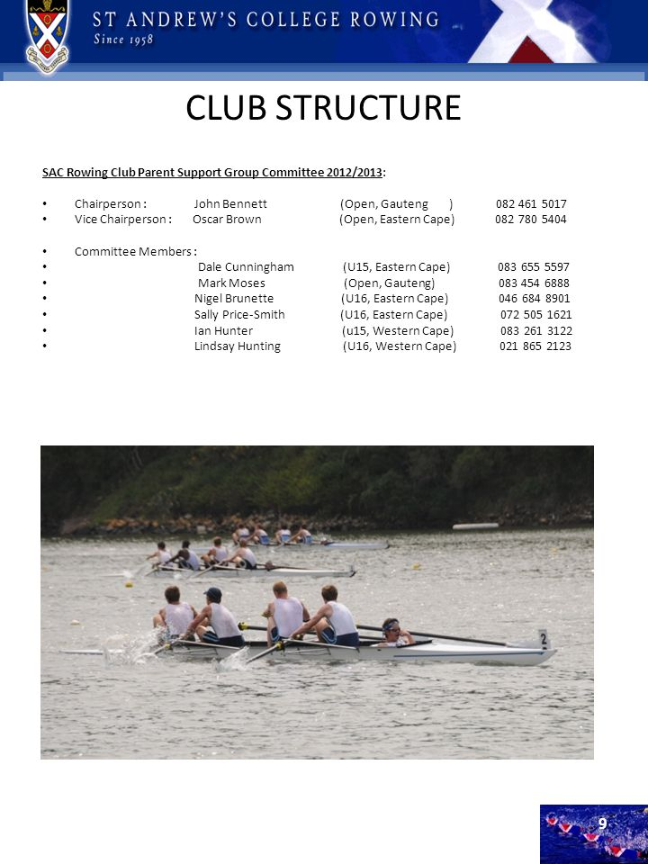 CLUB STRUCTURE SAC Rowing Club Parent Support Group Committee 2012/2013: