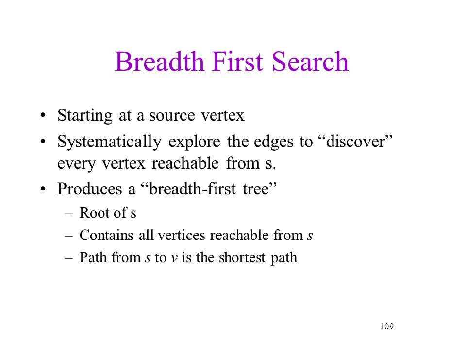 Breadth First Search Starting at a source vertex