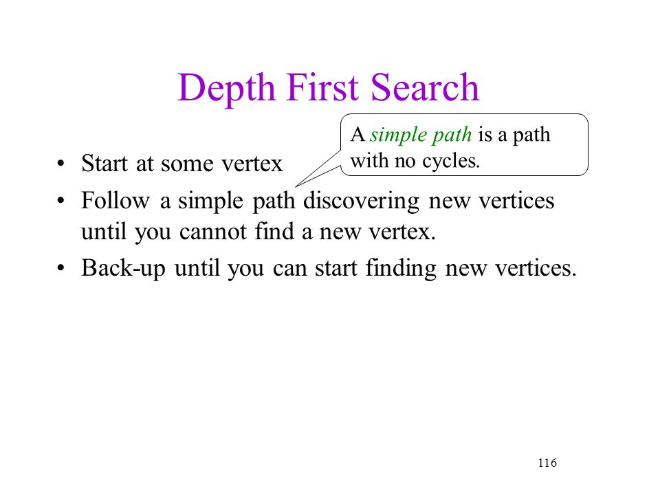 Depth First Search Start at some vertex